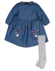 Denim dress with tights (9mths-5yrs)