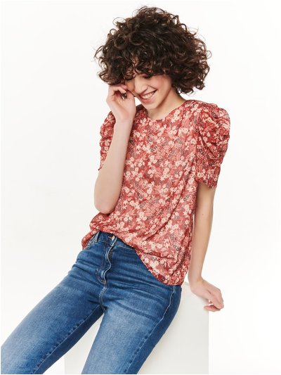 Floral foil ruched sleeve top