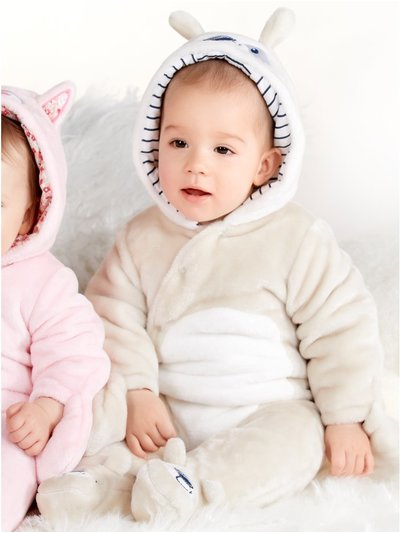 Dog fleece pram suit (Newborn - 12 mths)