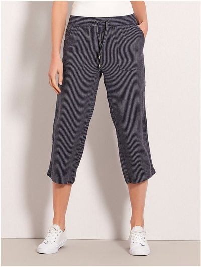 Cropped stripe linen trousers