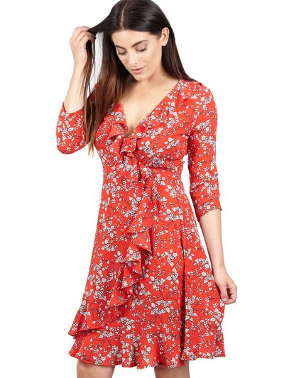 Izabel ditsy floral wrap dress