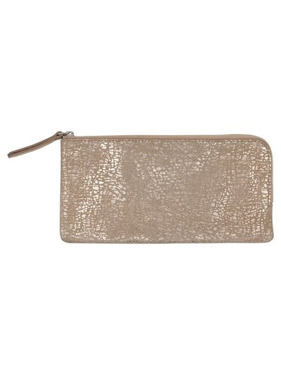 Foil animal print leather purse