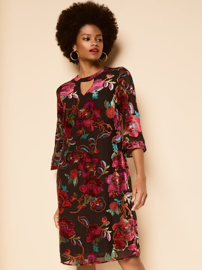 Floral devore shift dress