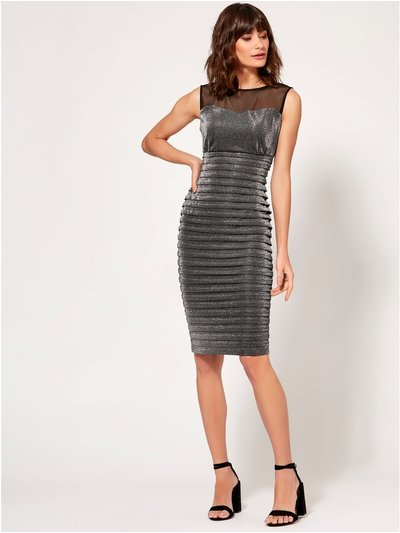 Metallic mesh shutter dress