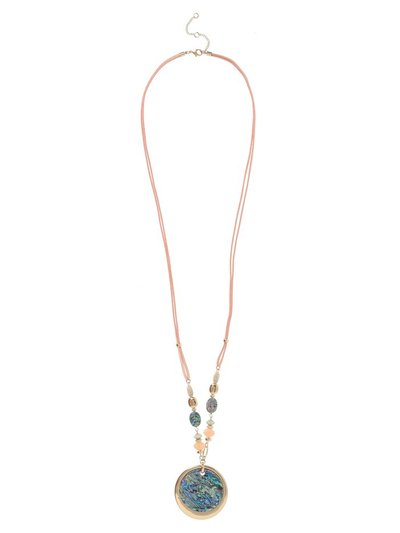 Pink Cord Abalone Necklace