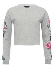 Teens' cropped slogan rose sweatshirt