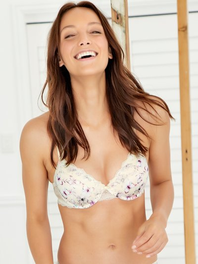 Padded floral butterfly underwire bra