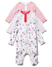 Stripe, spot and house print sleepsuits three pack