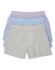 Woven cotton boxer shorts three pack