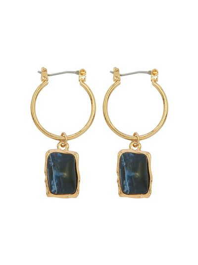 Navy pendant hoop earrings