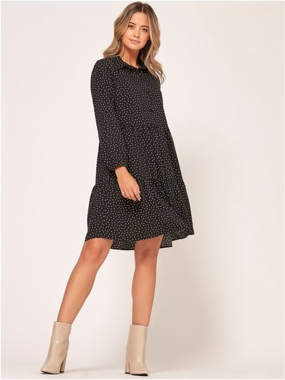 Petite spot tiered shirt dress