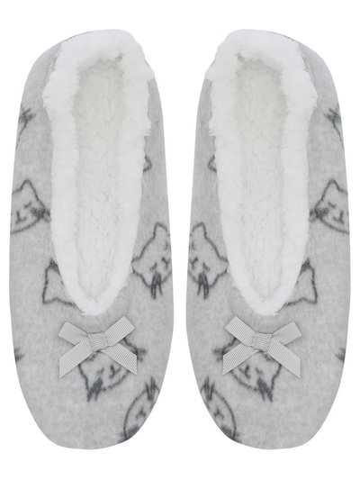Cat print footsie slippers