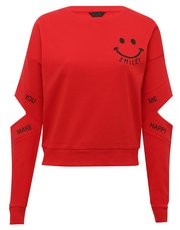 Teens' cut out sleeve slogan sweater