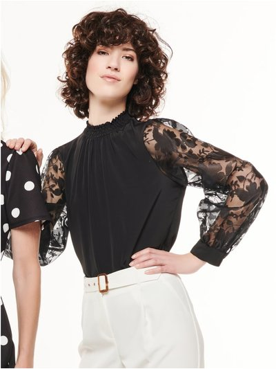 Floral organza sleeve blouse