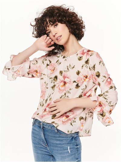 Shimmer floral frill sleeve top
