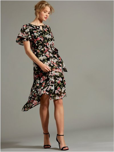 Floral layered dobby dress