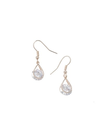 CZ Rose Gold Crystal Drop Earrings
