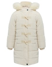 Faux fur trim hooded duffle coat