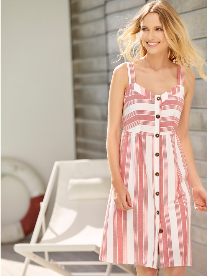 Petite stripe button front linen dress