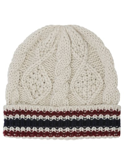 Cable knit stripe beanie hat