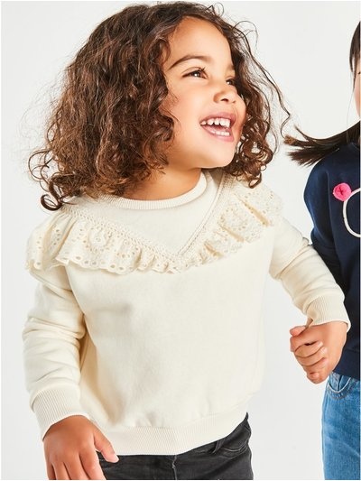 Broderie anglaise frill sweatshirt (9mths-5yrs)