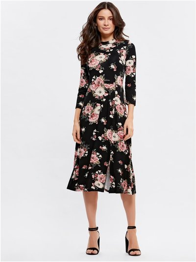 High neck floral midi dress