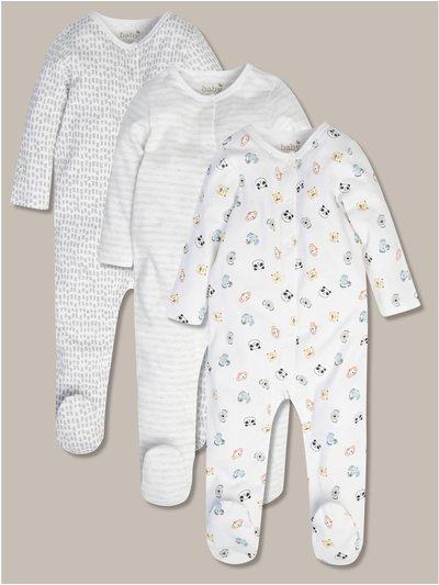 Animal sleepsuits three pack (tiny baby-18mths)