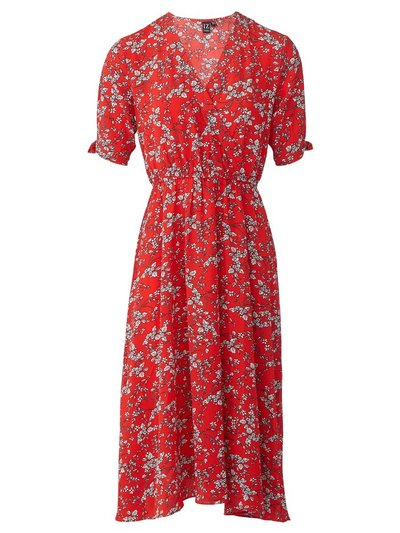 Izabel ditsy floral wrap front dress