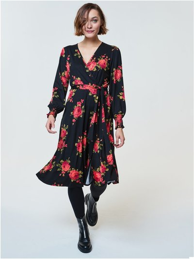 Rose print wrap midi dress