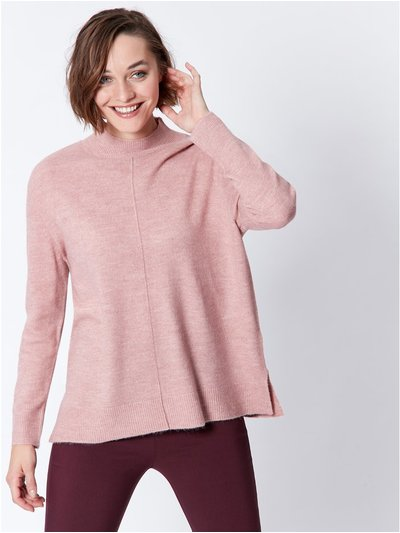 High neck front seam jumper