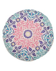 Round floral embroidered cushion