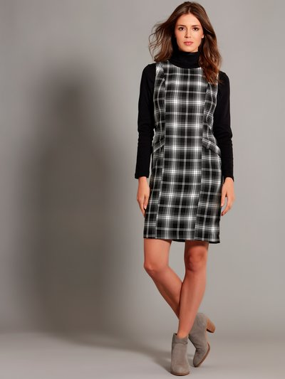 Checked pinafore shift dress