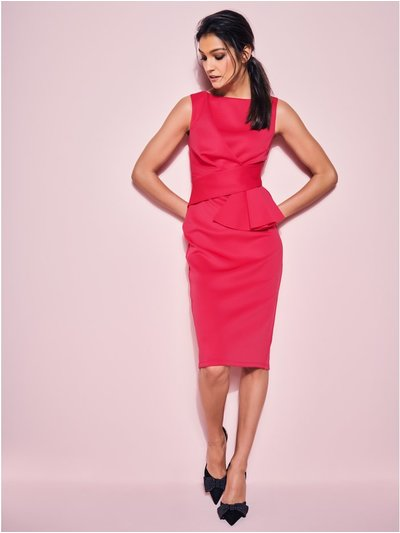 GLAMOUR cerise ruffle pencil dress