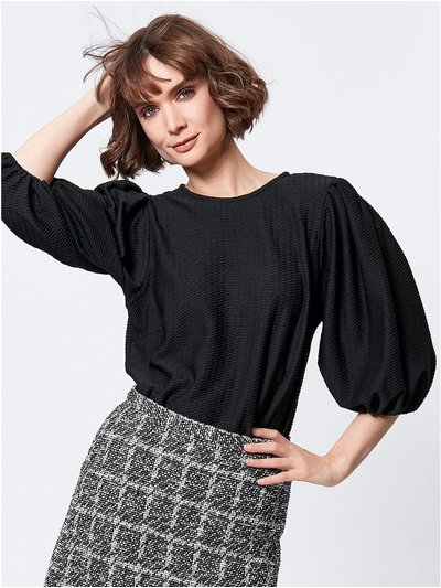 Puff sleeve textured top