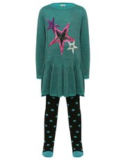 Sequin star peplum dress and tights set