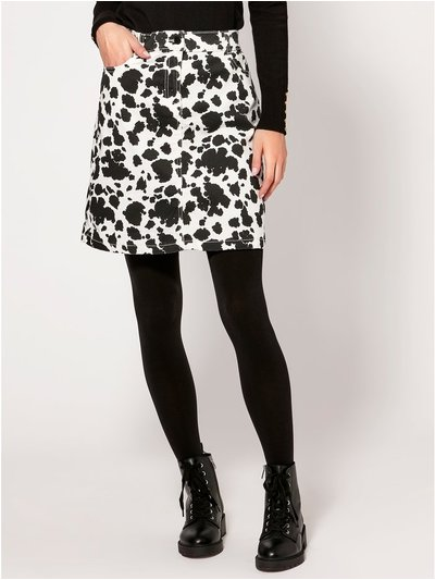 Cow print twill skirt