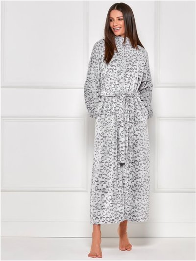Leopard fleece zip front dressing gown
