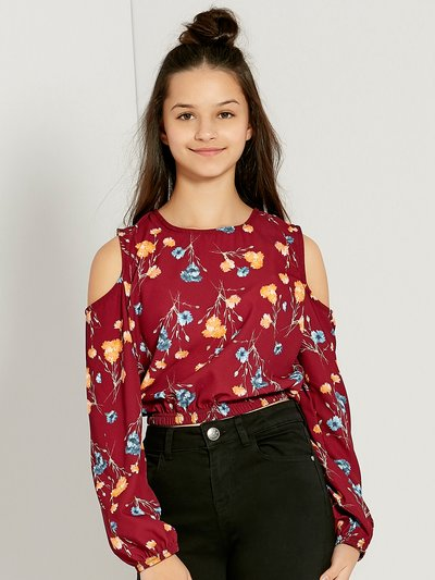 Teens' floral print cold shoulder top