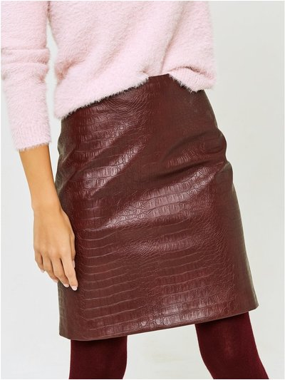 Petite croc faux leather skirt