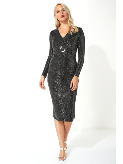 Roman Originals sparkle twist front midi dress