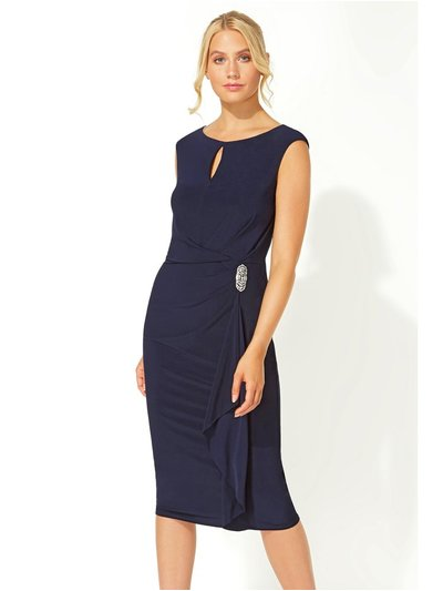 Roman Originals side waterfall embellished midi dress