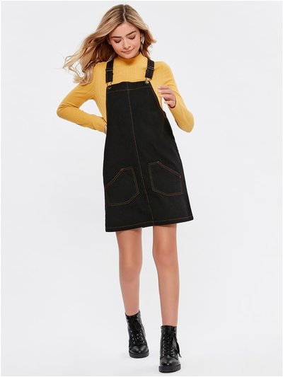 Teen black denim pinafore dress
