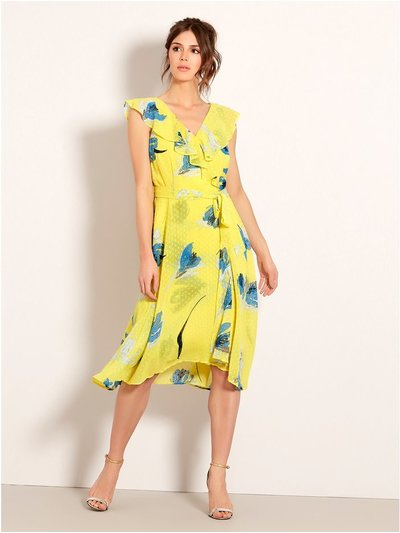 Floral dobby hanky hem dress