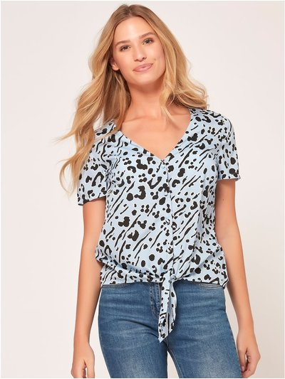 Animal print button tie front top