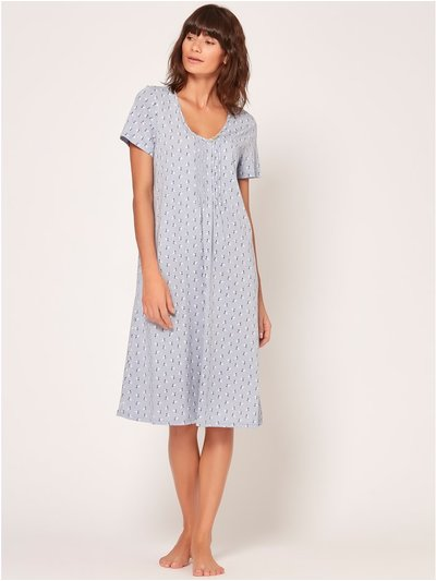 Blue leaf print nightdress