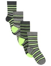 Neon stripe socks four pair pack