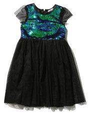 Two way sequin mesh fit and flare dress