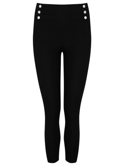 Petite button trim stretch trousers