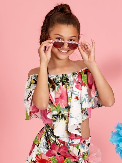 Teens' floral bardot top