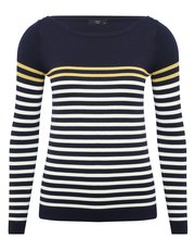 Petite slash neck stripe jumper